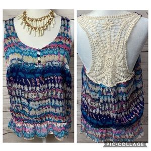 NWOT Forever 21 Ruffle Tribal Lace Tank Top